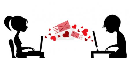 Illustration for Young couple sending love mail vector - Royalty Free Image