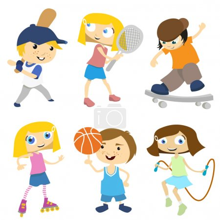Illustration for Sport kids set vector - Royalty Free Image