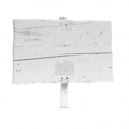 Photo pour Panneau en bois blanc peint en utilisant la couleur blanche, grande taille, fond blanc avec des clous - image libre de droit