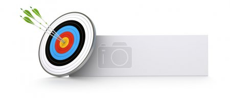 Photo for One target and three green arrows hitting the center of the bull's eye. There is a banner for advertising or communication space. white background - Royalty Free Image