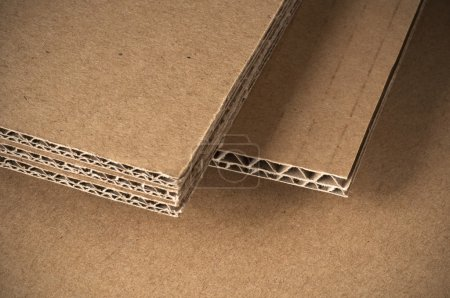 Photo for Corrugated cardboard sheets view of the side - Royalty Free Image