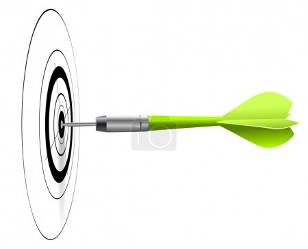 Photo for One green dart hitting the center of a black target, white background, EPS image - Royalty Free Image