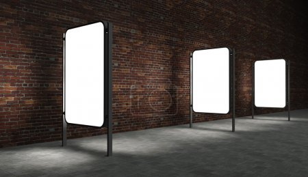 Photo for 3d Blank street advertising billboards on brick wall at night with ladder and bucket - Royalty Free Image
