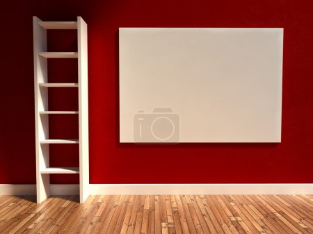 3d interior, empty billboard and shelf