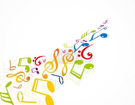 Illustration pour Notes de musique colorées illustration vectorielle fantastique de fond - image libre de droit
