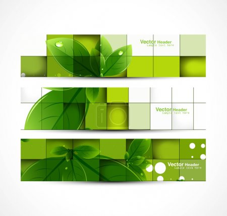 Illustration for Abstract eco set of headers with three different style vector design - Royalty Free Image