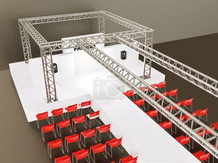 Photo for Modern showroom with a red chairs and steel construction. - Royalty Free Image