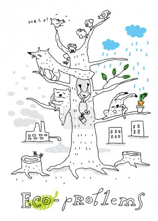 Illustration for Environmental challenges and opportunities - Royalty Free Image