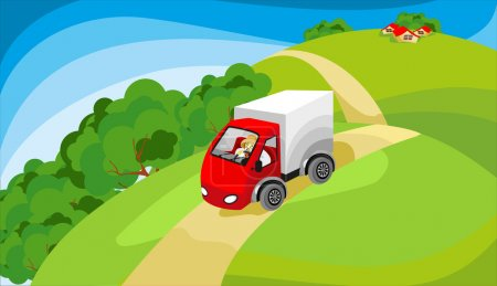 Illustration for Truck driving on the road in a rural mentions in the fields and meadows in the distance one can see farmhouses or village - Royalty Free Image