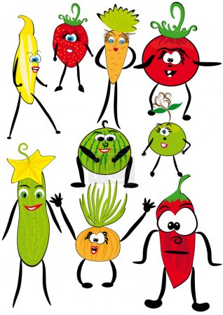 Illustration for Series: the cheerful cartoon animated fruits and vegetables. Vector illustration - Royalty Free Image