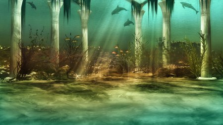 Photo for An imaginary underwater scenery with sunken ruins - Royalty Free Image