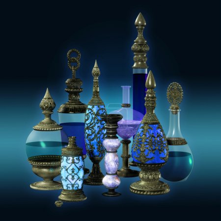 9 bottles with silver ornaments in blue colors