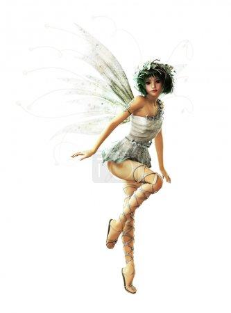 Photo pour Une charmante fée avec guirlande et ailes - image libre de droit