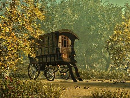 A colorfully painted gypsy caravan in a rural envi...