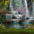 A magical landscape with waterfalls, flowers and t...
