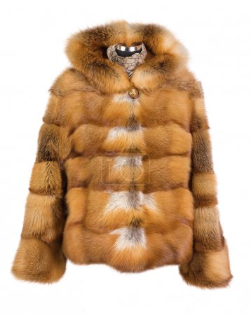 Real foxy fur coat isolated on white background