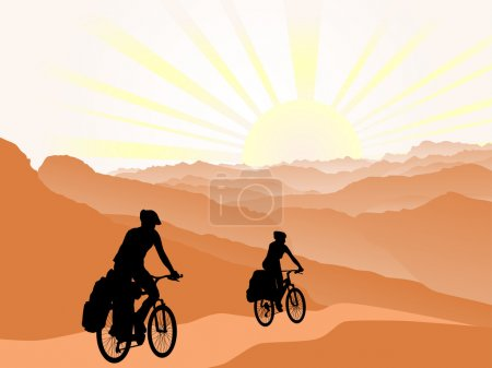 Illustration for Couple of cyclists travel to mountains. Silhouette. Active outdoor lifestyle concept - Royalty Free Image