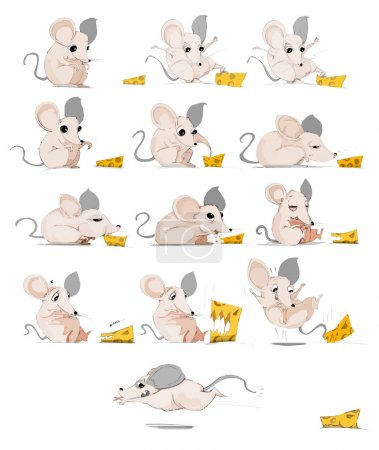 Crazy Mouse eating cheese cartoon