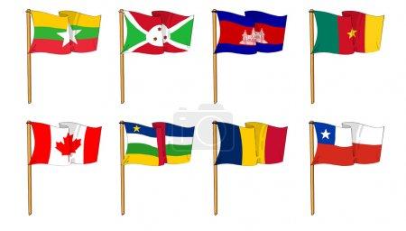 Photo pour Dessins animés de certains des drapeaux les plus populaires au monde : Lettre B et C - image libre de droit
