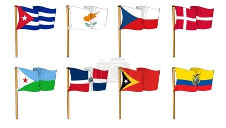 Photo pour Dessins animés de certains des drapeaux les plus populaires au monde : lettres C, D et E - image libre de droit