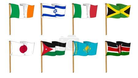 Photo pour Dessins animés de certains des drapeaux les plus populaires au monde : lettre I, J & K - image libre de droit