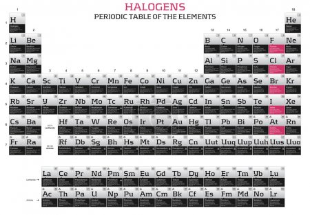 Halogens in the periodic table of the elements