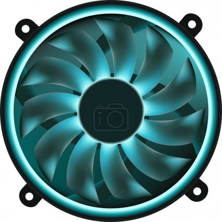 Illustration pour Dessin vectoriel d'un ventilateur informatique . - image libre de droit