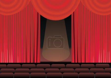 Illustration pour Scène de théâtre et rideau rouge - image libre de droit