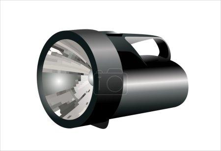 Illustration for Black flashlight isolated on white background - Royalty Free Image