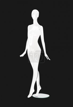 Female fashion mannequin against a black background