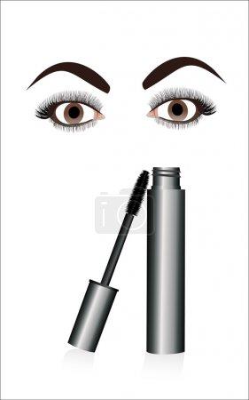 Illustration pour Encre pour cils et yeux . - image libre de droit