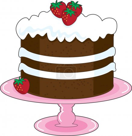 Illustration pour Shortcake aux fraises avec glaçage à la crème fouettée et fraises fraîches, est affiché sur une assiette de gâteau rose avec piédestal. Mmmm, miam ! - image libre de droit