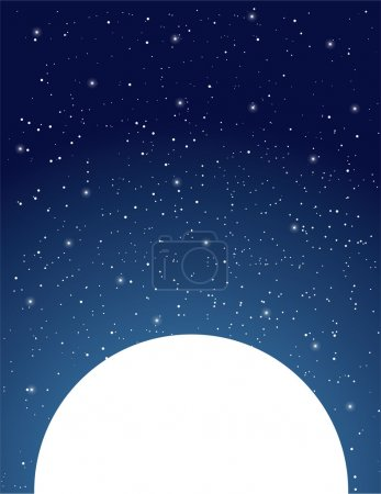 Illustration for An expansive, starry, night sky sits above a white moon. - Royalty Free Image