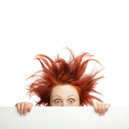 Photo for Redhead woman with messy hair with copy space - Royalty Free Image