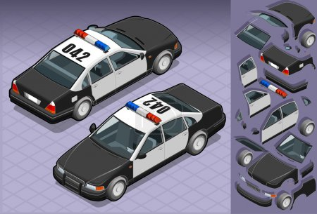 Isometric police car in two position