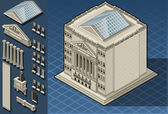 Isometric stock exchange building in new york wall street