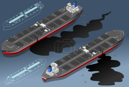 Isometric ship tanker leaky oil in two position