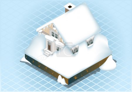 Isometric Very hard Snow Capped House