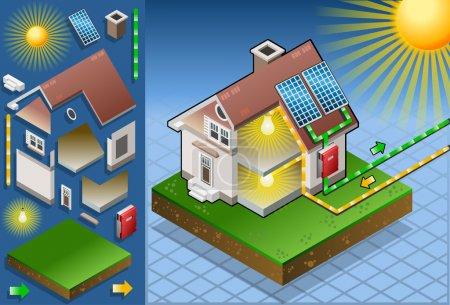 Illustration pour Animation détaillée d'une maison isométrique avec panneau solaire en production d'énergie solaire Cette illustration est sauvegardée dans EPS10 avec espace couleur en RVB . - image libre de droit