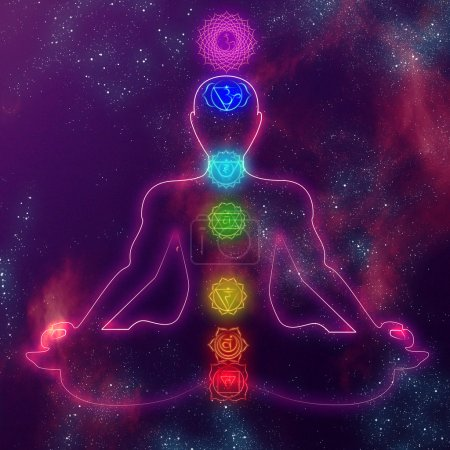 Glowing silhoette of meditation man in space with ...