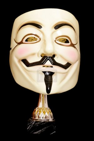 Guy fawkes mask with trophy