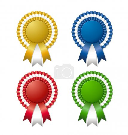 Illustration for Colored rosettes with ribbon - Royalty Free Image