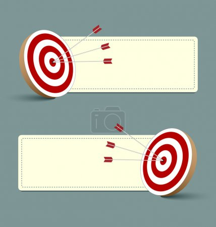 Illustration for Target, arrows and banners isolated on background - Royalty Free Image