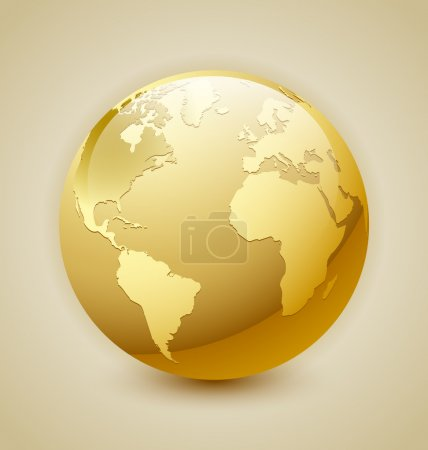 Golden glossy Earth icon isolated on background