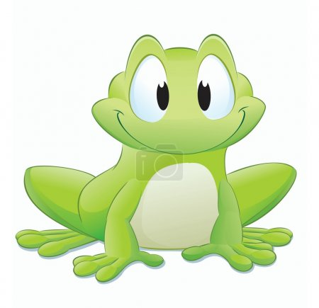 Vector illustration of a cute cartoon frog. Groupe...