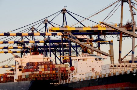 Photo for Cargo ship and lifting cranes. - Royalty Free Image