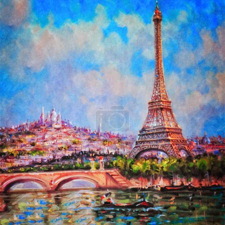 Photo for Colorful painting of Eiffel tower and Sacre Coeur in Paris - Royalty Free Image