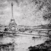 """Постер, картина, фотообои """"Черно-белые иллюстрации Эйфелевой башни в Париже"""""""