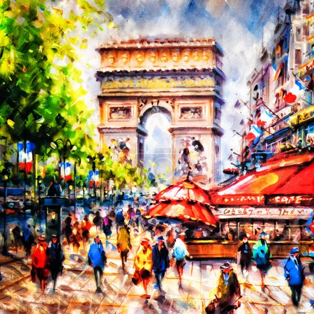 Colorful painting of Arc d' Triomphe in Paris