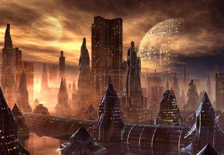 Photo for Fantasy city skyline on an alien planet - Royalty Free Image